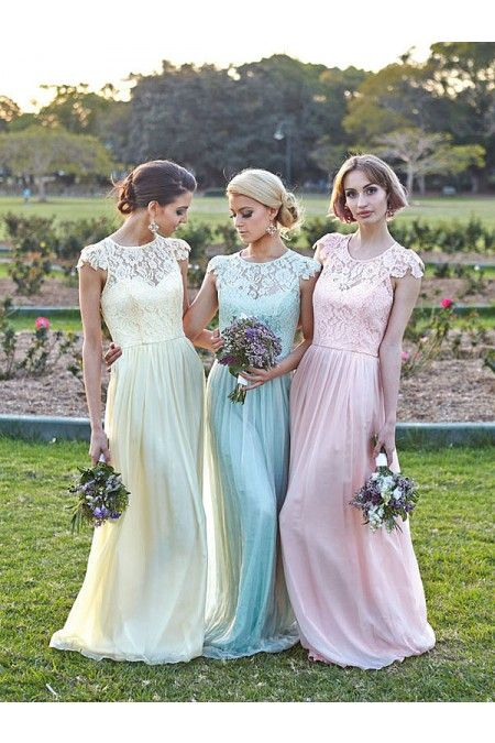 Scoop Bridesmaid Dress #yellow #blue #pink #gowns #prom