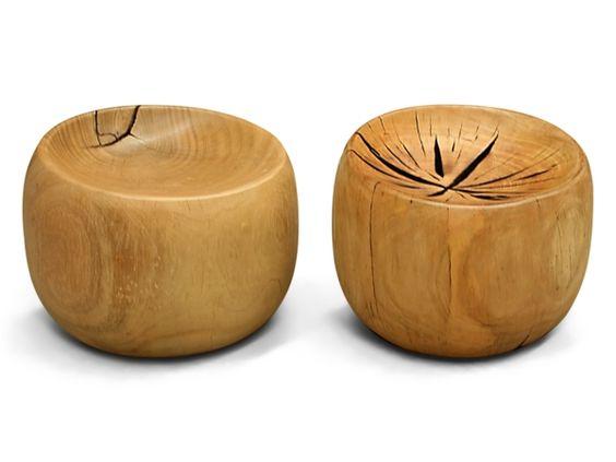 echtholzmöbel runde sitzhocker naturholz