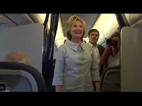 Clinton greets reporters on new plane  'I'm more than ready