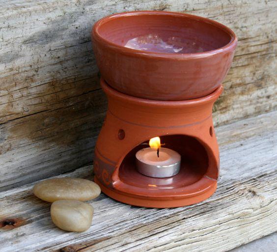 rustic terracotta oil burner/diffuser by earthformsbymarie on Etsy. SOLD