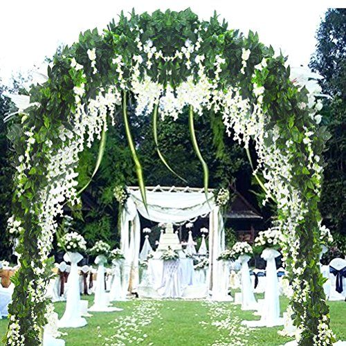 5 Strands 32 8 Ft Artificial Silk Wisteria Vine Ratta Ivy Garland Wisteria Artificial Flowers Hanging Plants Vines Faux Greenery Fake Green Leaf Garland For Wed Hanging Flowers Wedding Cheap Wedding Flowers