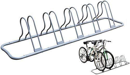 DecoBros 5 Bike Bicycle Floor Parking Adjustable Rack Storage Stand Silver New