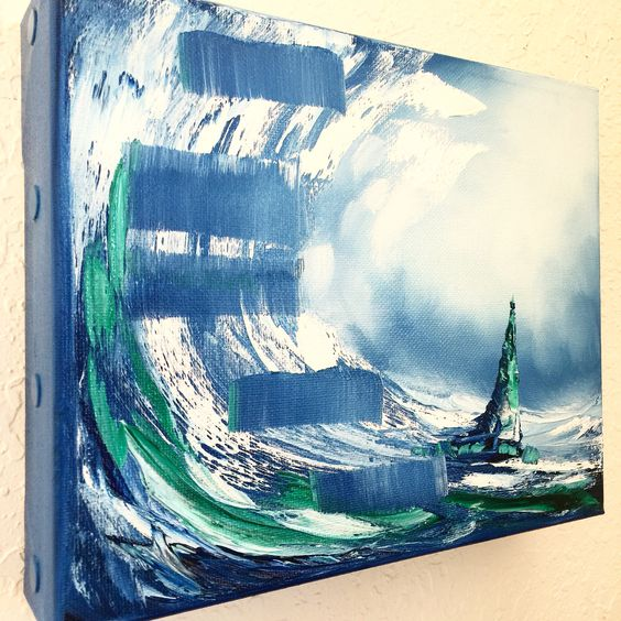 "New Mini Nautical Painting! ""Stairway in the Ocean"" | Oil on Canvas | Art by Laelanie Larach | www.laelanielarach.com"