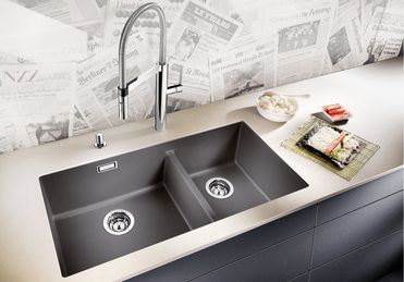 Blanco double bowl sink, but in white