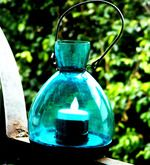 Buy Blue Glass Candle Holder With LED by Market Finds online from Pepperfry. 323