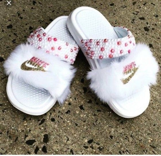 Bedazzled shoes, Girly shoes, Nike slides