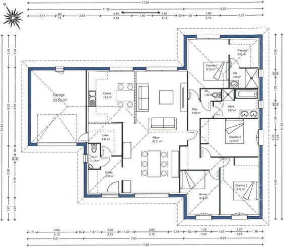 Plan de maisonGironde (33) Cuisine à gauche plan Pinterest - plan de maison 100m2