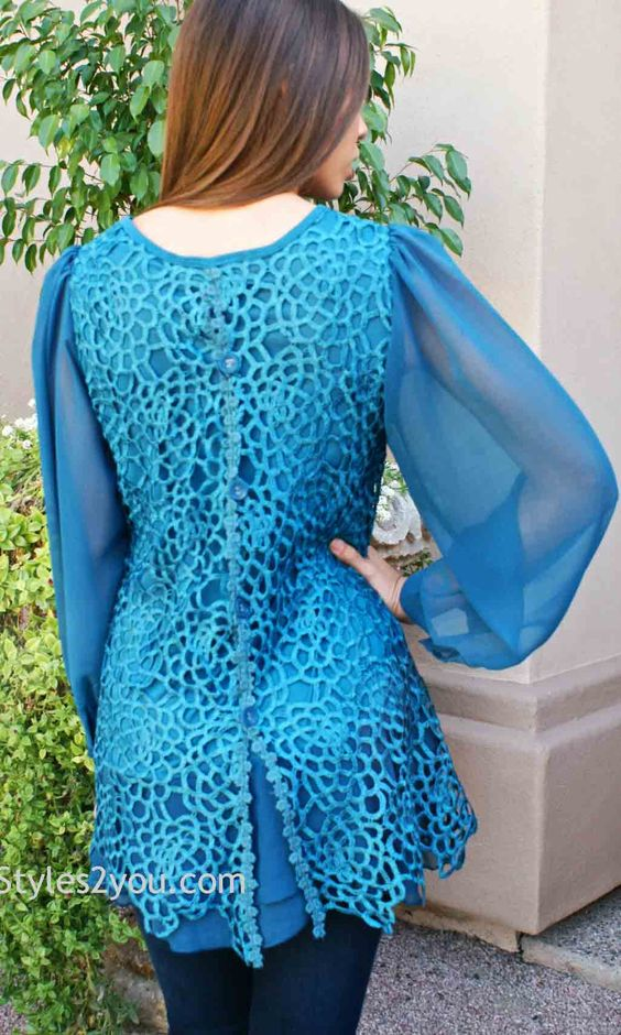 Opal Antique Skirted Sleeved Blouse In Turquoise