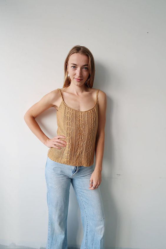 Beige/Gold Woven 90s Tank by DamselflyGoods on Etsy