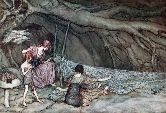 Arthur Rackham ~ The Little People Weave Their Summer Curtains ~ Peter Pan in Kensington Gardens by J. M. Barrie ~ 1906 ~ via
