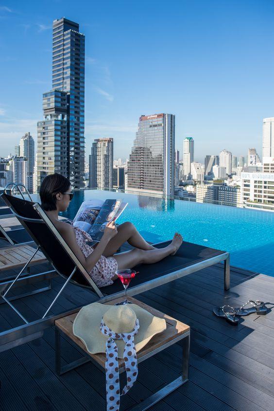 Sunset at rooftop bar Amara Bangkok Hotel | Amara Rooftop Pool & Bar |  Pinterest | Rooftop, Pool bar and Rooftop pool