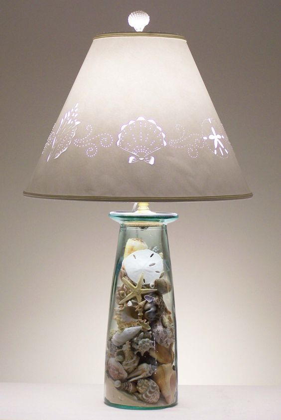 lamps beach themed rooms and seashells on pinterest. Black Bedroom Furniture Sets. Home Design Ideas