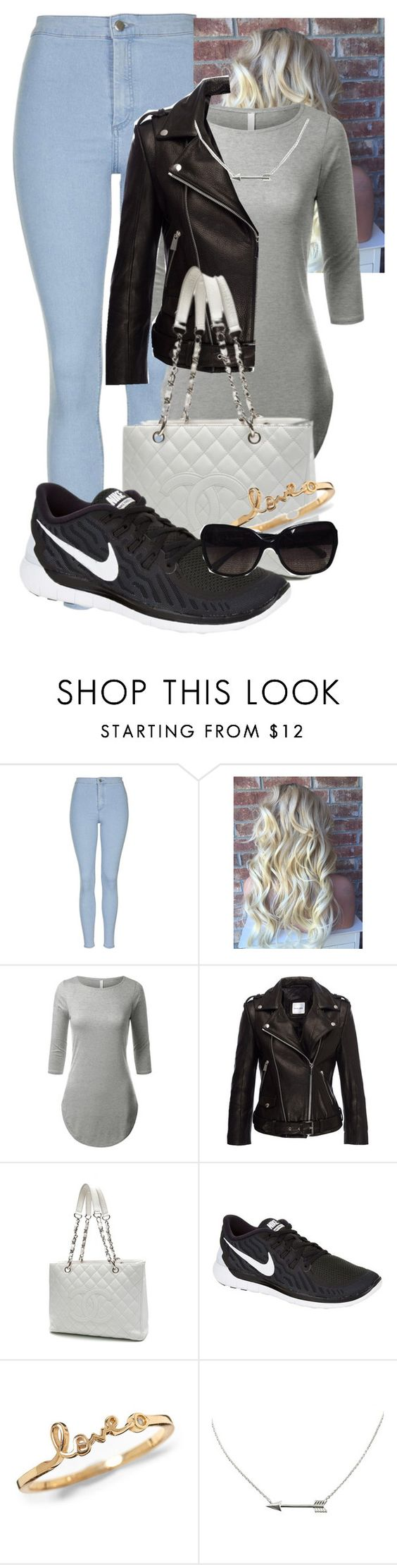 """Untitled #126"" by lesliekabengele on Polyvore featuring Topshop, Chanel, NIKE, women's clothing, women, female, woman, misses and juniors"
