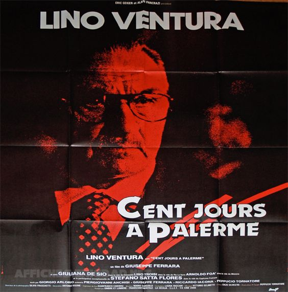 """""""Cent jours à Palerme"""" de Giuseppe Ferrara avec Lino Ventura, Giulana de Sio. Italie. 1984."""