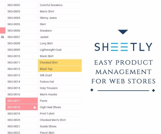 sheetly product management for web stores