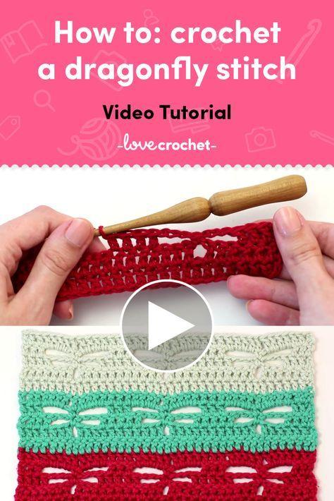 Naucz się szydełkować ścieg ważki dzięki temu samouczkowi wideo!  Znajdź więcej samouczków na temat szydełkowania na LoveCrochet.com