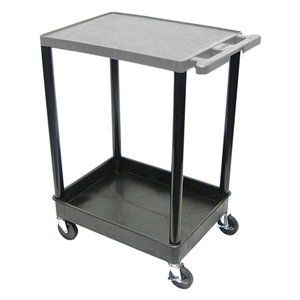 Utility Cart, H 35 1/2 In, Gray Top by Luxor. $182.44. Utility Cart, Load Capacity 200 lb., Polyethylene Construction, Color Gray Top Shelf, Black, Overall Length 24 In., Overall Width 18 In., Overall Height 35 1/2 In., Number of Shelves 2, Caster Size 4 In., Caster Type 4 Swivel, 2 with Lock, Caster Material Hard Rubber, Capacity per Shelf 100 lb., Distance Between Shelves 26 In., Shelf Length 24 In., Shelf Width 18 In., Lip Height 1/4 In.
