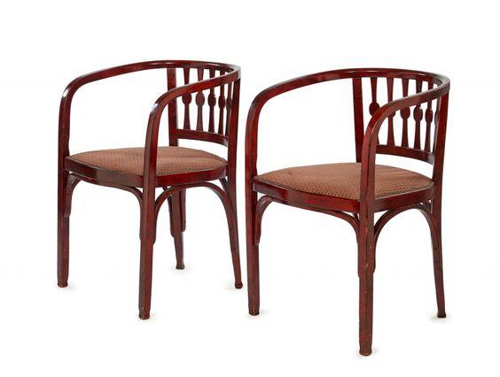 """THONET (éditeur) - Deux fauteuils - en bois vernissé thermoformé..., mis en vente lors de la vente """"« Intérieurs du 20e siècle » Art Déco et Design - Vacation 1"""" à Artcurial - Briest-Poulain-F.Tajan   Auction.fr"""