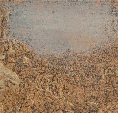 "#DeTuArte ""Mountain Gorge Bordered by a Road"". Hercules Seghers 1615-1630. Barroco. Paisaje. Aceite.  Esta obra es del Dominio Público. De: wikipaintings.org"