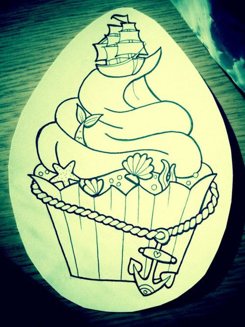mermaid cupcake tattoo... Instead of the ship have a pin up mermaid