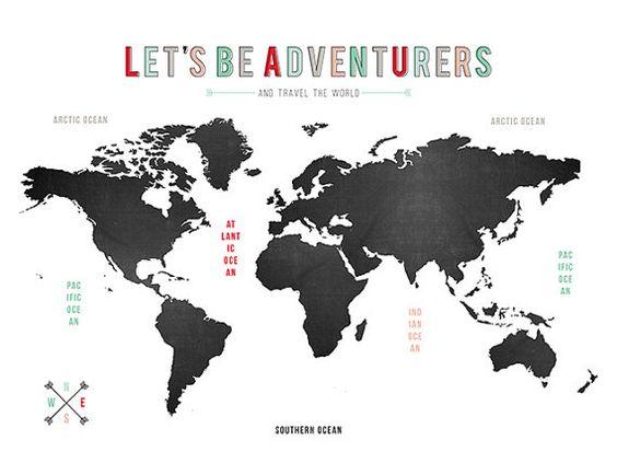 WORLD map printable poster //etsy