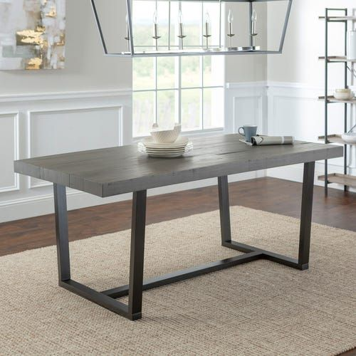 Distressed Gray Solid Wood 72 Dining Table Grey Dining Tables