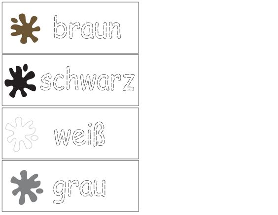 German -Color Trace - Writing Practice - laminate and use dry erase markers