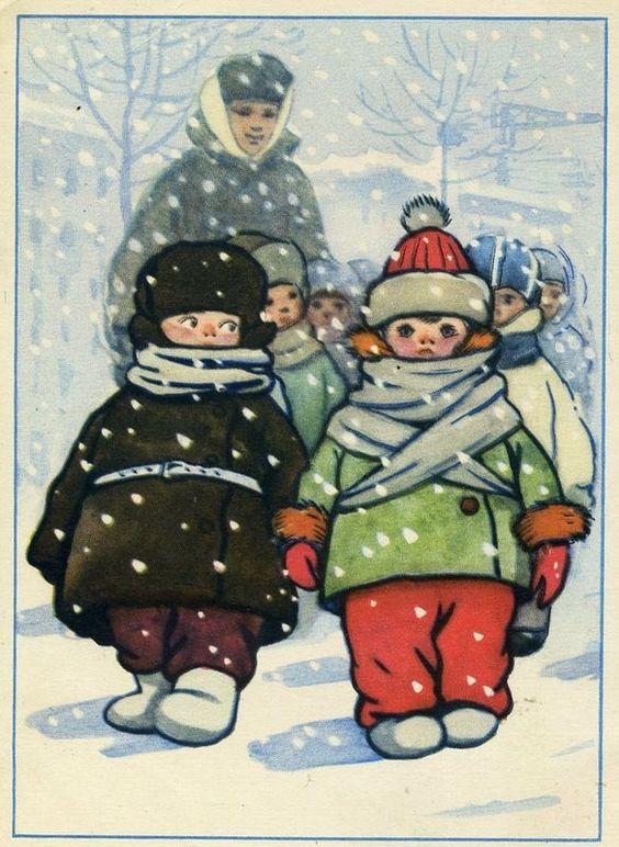 Детский сад на прогулке   1956, Автор: Талашенко В.,: