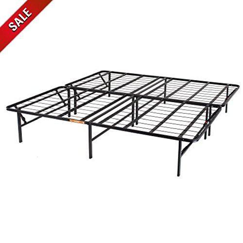 Queen Bed Frame Platform Double Bed Frame Metal Folding Black