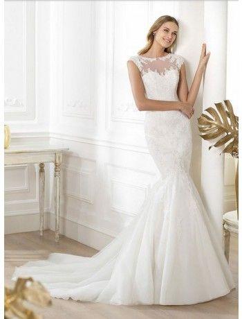Gorgeous V Neck Lace Mermaid Wedding Dress