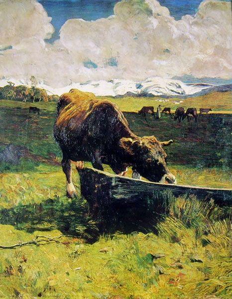 Giovanni Segantini - Vacca bruna all'abbeveratoio 1887