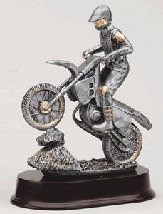 Motorcycle On Rock Pewter Resin w/Gold Accents