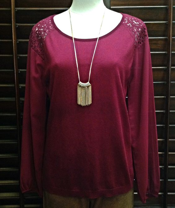 August Silk  - Sweater top with lace insets and chiffon sleeves - $60