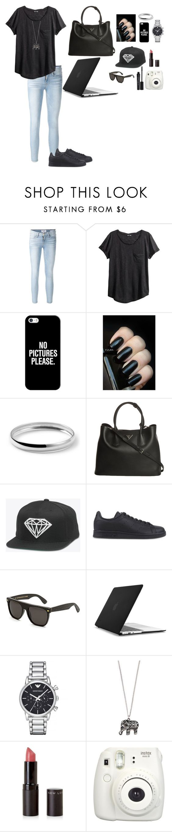 """Black All the Way"" by camposv571 ❤ liked on Polyvore featuring Frame Denim, H&M, Casetify, Ippolita, Prada, adidas Originals, RetroSuperFuture, Speck, Emporio Armani and Accessorize"