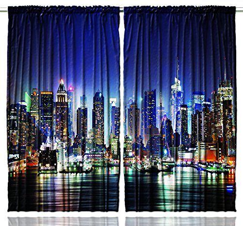 Living Room Curtains amazon living room curtains : Amazon.com - New York City Manhattan Skyline At Night Skyscrapers ...