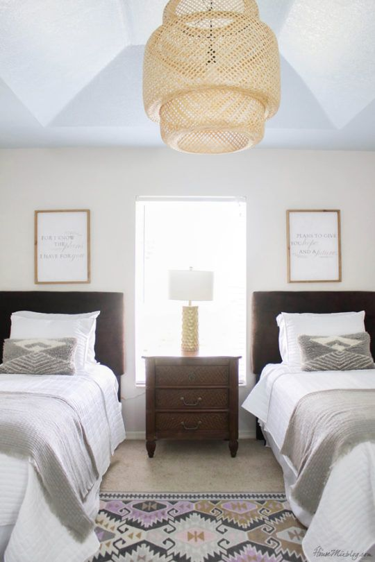 Neutral Guest Room With Twin Beds Blue Ceiling Classy Bedroom