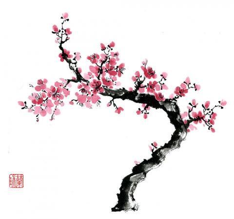 Brush Art Print 21 Cherry Blossom Flower Art Painting Art Flower Painting