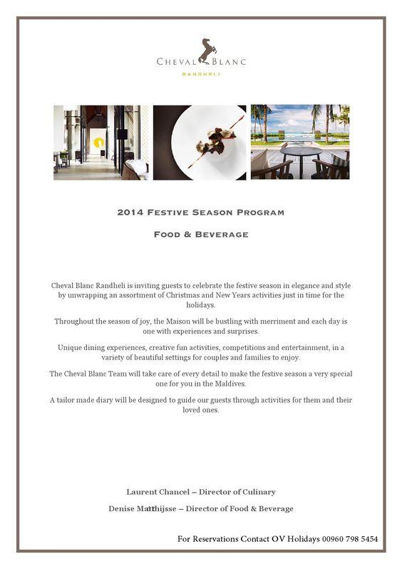 What is Festive Program?  Cheval Blanc Festive Program 2014 -  http://issuu.com/ovholidays/docs/cheval_blanc_festive_program_-_fest