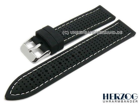 Uhrenarmband 22mm schwarz Silikon Racing-Look helle Naht von HERZOG (Schließenanstoß 20 mm) - Bild vergrößern