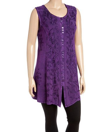 Another great find on #zulily! Purple Sleeveless Floral Tunic - Plus #zulilyfinds