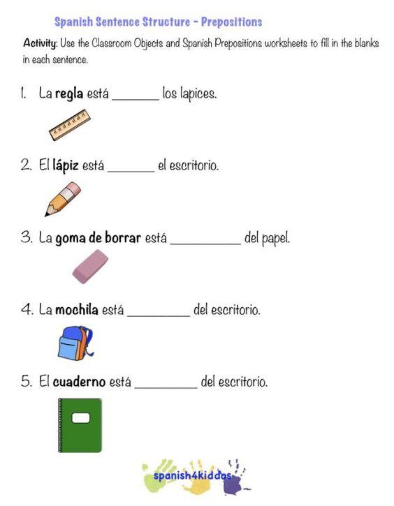 Activity 2 Spanish prepositions – Spanish Prepositions Worksheet