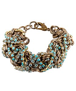 Mixology NYC Atlantic City Bracelet  Rhinestones and thick brass mesh brilliantly in this Mixology NYC Atlantic city bracelet. Threads of teal rhinestones weave in and around the large brass rings, providing a dynamic look. The bracelet is thick, making it a bold piece.