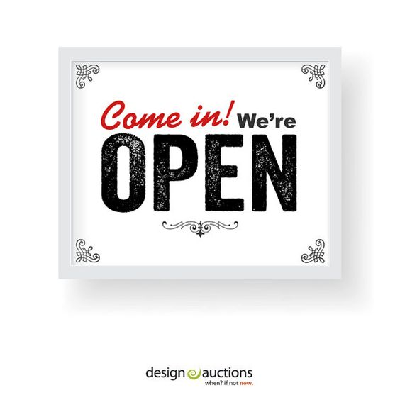 Come in we are OPEN sign printable instant by designauctionsnow