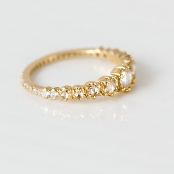 Rose Cut White Diamond Engagement Ring in 14k Gold by Melanie Casey Jewelry