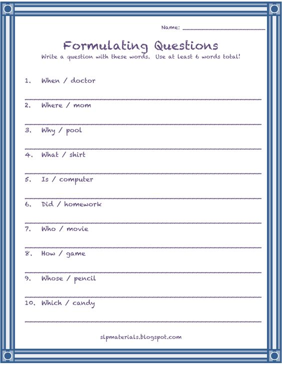 Formulating Questions - 2 Words