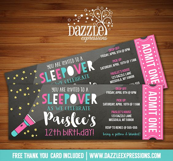 Printable Chalkboard Sleepover Ticket Birthday Invitation | Slumber Party | Movie Night Party | Camping | Glamping | Flash Light | Tween, Girls, Teenager | Gold Glitter | DIY | Digital File | Party Decorations Available | Signs | Cupcake Toppers | Water Bottle Labels | Favor Tags | Popcorn Box | Banner | Food Labels | www.dazzleexpressions.com