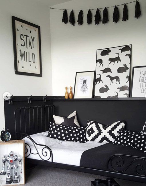 These Kids Bedroom Ideas With Black Walls Are Pure Fiya Hunker White Kids Room Kids Bedroom Guest Bedroom Design