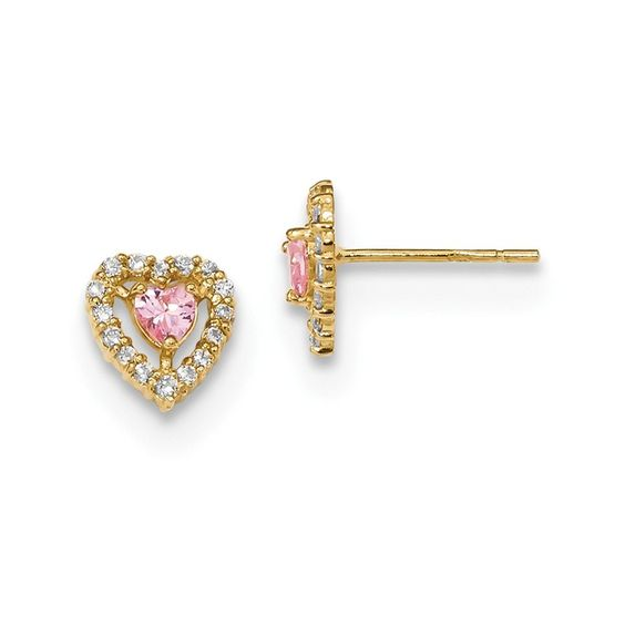 14k Madi K Polished Pink \ White CZ Heart Post Earrings FREE - refund policy