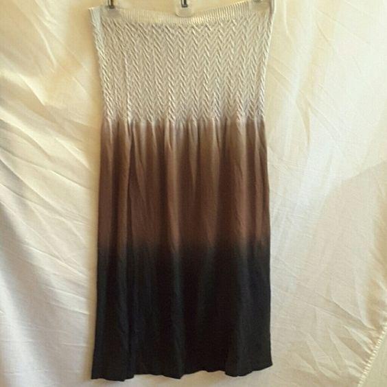 Tropix strapless dress. Tropix, size L/XL, black, brown, and cream ombre, strapless, 95% nylon 5% spandex dress Tropix Dresses Strapless