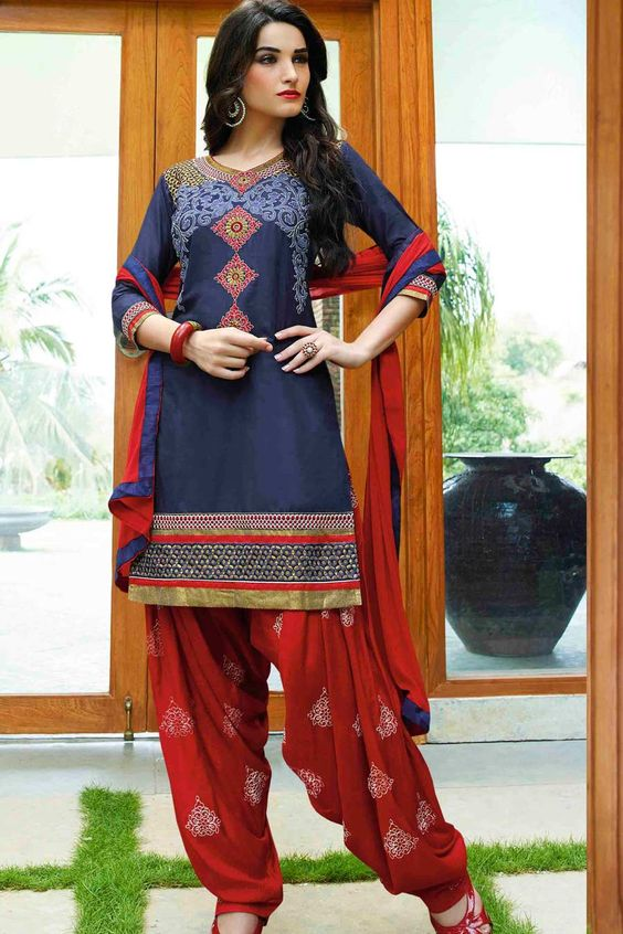 Navy & Red Cotton Cambric Suit With Chiffon Dupatta